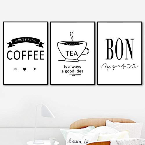 Bar Minimalist Nordic Style Kaffee und Tee in immer eine gute Idee Poster und Drucke Leinwand Malerei Wandkunst Bilder Home Decoration / 60X80Cmx3 Ungerahmt