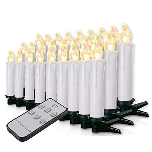 20-60er Weinachten LED Kerzen Weihnachtsbeleuchtung Lichterkette Kerzen kabellos Weihnachtskerzen Weihnachtsbaum Kerzen mit Fernbedienung kabellos Baumkerzen(weisse Hülle, 40er)