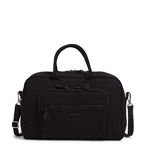 Vera Bradley Women's Microfiber Compact Weekender Travel Bag, Black, One Size