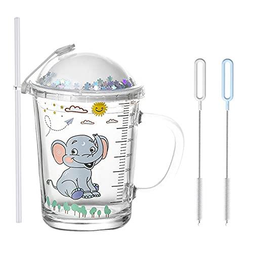 Heiqlay Tazza di Latte con Bilancia, Bicchiere con Cannuccia e Coperchio, Tazza di Paglia per Bambini, forno a microonde può essere riscaldata, trasparenti con scala , 400 ml, 1 set, elefante