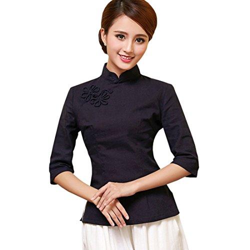 Yue Lian Damen Sommer Stehkragen Bluse Retro Chinesische Art Qipao 3/4 ?rmel Tops (Marineblau, China M : EU 34)