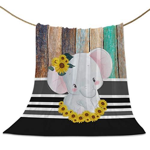 Superweiche Überwurf-Decke, niedliche Aquarell-Elefanten mit Sonnenblumen, bequem, warm, leicht, Decke für Bett, Sofa, Couch, Stuhl, Holzdiele, Mikrofaser, Elefantcho 5077, 60x80inch