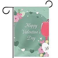 ウェルカムガーデンフラッグ(12x18in)両面垂直ヤード屋外装飾,花とバレンタインを飲む
