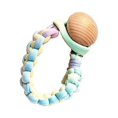 Wenyounge Bebé recién Nacido Chupete Cadena de Clip de Tela de algodón de Madera Hecho a Mano maniquí pezón Titular dentición