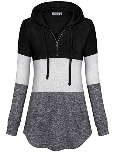 MOQIVGI Womens 1/4 Zip Fleece Hooded Tops Tricolor Patchwork Long Sleeve Kangaroo Pocket Thin Lightweight Comfy Pullover Sweatshirts Black Large