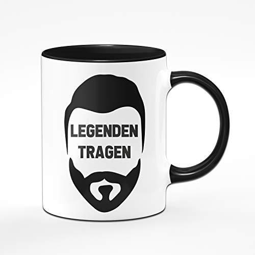 Tassenbrennerei Tasse mit Spruch Legenden Tragen Bart - Geschenk für Männer mit Bart Tassen mit Sprüchen lustig (Schwarz)