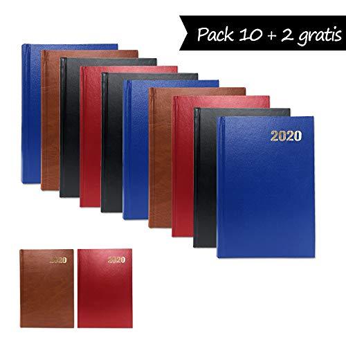 Starplast, Pack 10 Agendas 2020, Agenda 2020 Semana vista, Tapa Dura en Balacrón, 3 x Cada Color, A5, 21 cm x 15 cm, con Información y Planning, Fin de Semana.