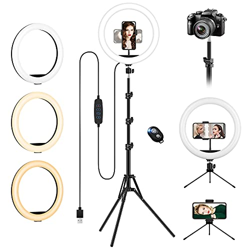 Ring Light with Tripod Stand & Phone Holder Tall, 12.6 inch Selfie Ring...