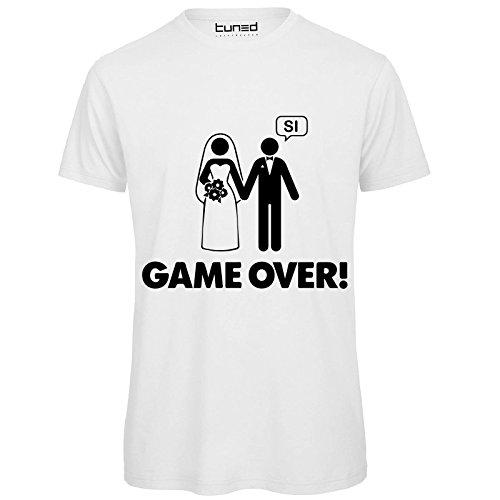 CHEMAGLIETTE! T-Shirt Divertenti Uomo Maglietta Ironica Addio al Celibato Matrimonio Game Over Tuned, Colore: Bianco, Taglia: M