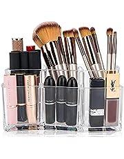 Queta Transparente Organizador de Maquillaje, Acrílica Transparente Caja, se Adapta a Joyas, cepillos, Barras de Labios y cremas, Almacenamiento de Cosméticos con Capacidad de 6 cuadrículas