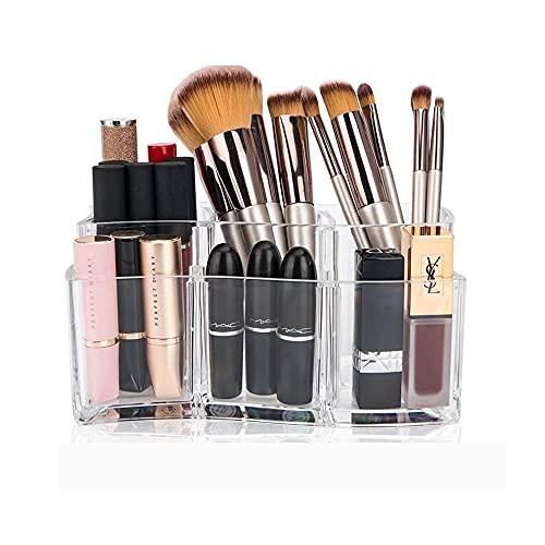 Queta Transparente Organizador de Maquillaje, Acrílica Transparente Caja, se Adapta a Joyas, cepillos, Barras de Labios y cremas, Almacenamiento de Cosméticos con Capacidad de 6 cuadrículas (B)