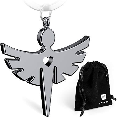 FABACH Schutzengel Fabiel Schlüsselanhänger mit Herz - Edler Engel Anhänger aus Metall in glänzendem Silber - Glücksbringer Geschenk für Auto, Führerschein - Fahr vorsichtig