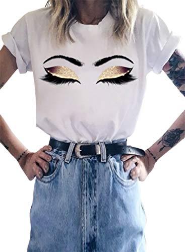 CORAFRITZ Blusa de manga corta con estampado gráfico 3D para mujer, cuello redondo, camiseta holgada para mujer