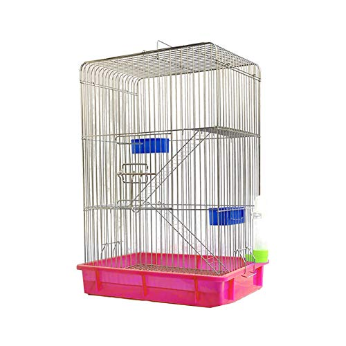 Aeon hum 鳥かご 鳥ケージ リスケージ バードゲージ 大型 豪華ケージ 銀色メッキ 大きい インコ オウムケージ オカメ セキセイ ボタン 附属品付き ピンク セット1