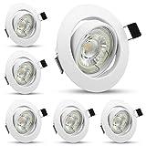 Foco LED empotrable blanco neutro 4500 K, 6 bombillas GU10 5 W, orientable, focos de Techo...