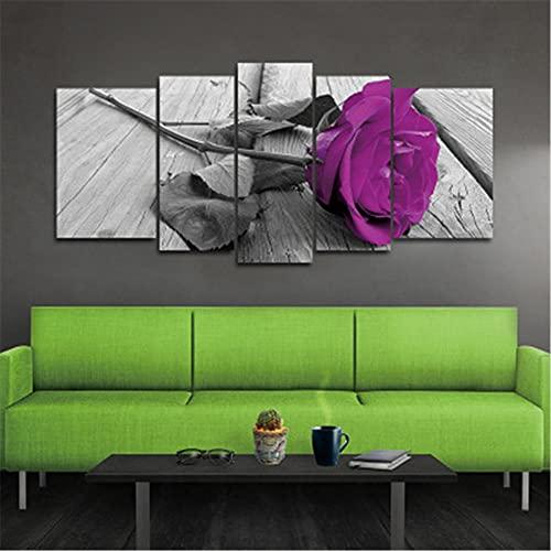 Kit de Pintura de Diamante DIY 5D 25x35cmx2pcs+25x50cmx2pcs+25x65cmx1pcs Rhinestone Bordado Punto de Cruz 5 piezas Diamond Painting Artes para Decoración de la Pared del Hogar Rosa purpura D41