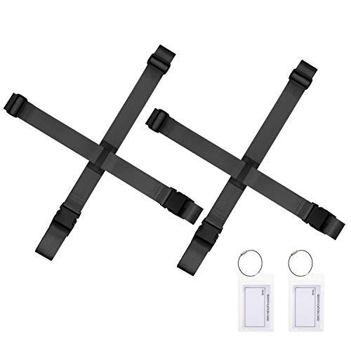 Gonex Luggage Straps, Adjustable Suitcase Belts Travel Accessories Bag Straps with ID Card Holder (Black 2 Sets)