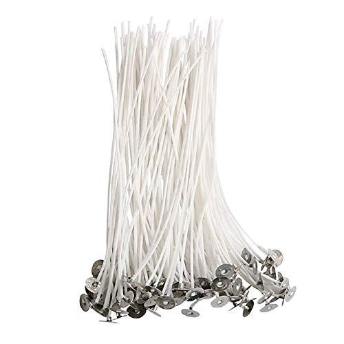 JKKJ 100 mechas de algodón natural de 25 cm de bajo humo, no tóxicas, con núcleo de algodón natural encerado, para hacer velas hechas en casa
