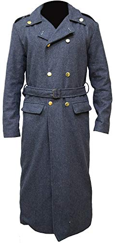 Doctor Who Mans Captain Jack Harkness John Barrowman Gray Coat (X-Small (36 Inc - 91 cm) Chest, Grau)