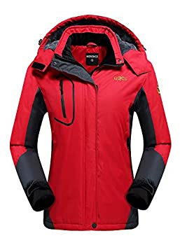 Women s Waterproof Ski Jacket Fleece Windproof Mountain Winter Snow Jacket Warm Outdoor Sports Rain Coat with Removable Hood U220WCFY029,New.Red,L
