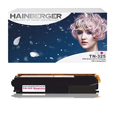 Hainberger Toner Magenta für Brother TN 325 Magenta 3.500 Seiten, kompatibel zu TN 320 / 325 / 328. Geeignet für Brother DCP-9055 Brother DCP-9055 CDN 9270 9270 CDN Brother HL 4140 CN 4150 CDN 4570 CDW 4570 Cdwt 9460 9460 CD 9460 CDN 9460 N 9465 9465 CDN 9970 9970 CDN 9970 CDW