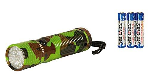 Arcas 30700010 Taschenlampe Camouflage mit 12 LED, Aluminium, inklusive 3 Batterien AAA/R03