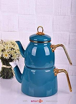 Enamel Turkish Teapot Samovar - Nostalgic Retro Samovar Kettle Special Design Midi Size Caydanlik 2 Lt (Blue)
