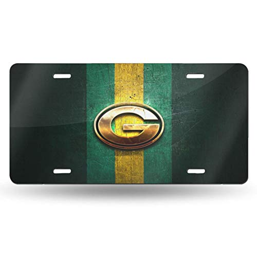 VF LSG Green Bay Packers License Plate Frame,American Football Design Aluminium Automotive License Plate Universal American Auto Easy Installation 12x6 inch