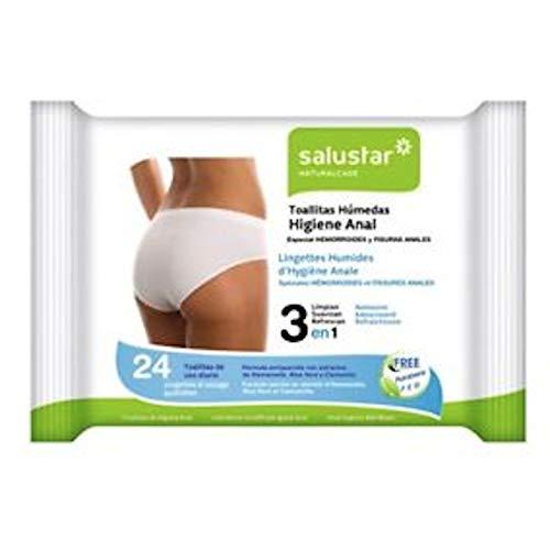 SALUSTAR Toallitas Higiene Anal 24U.Especial Hemorroides, Neutro, Medio