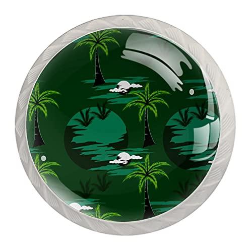 Tirador de cajón con tornillos Palmera verde Perillas de vidrio para gabinete de bricolaje para el hogar, armario, cocina, tocador y armario 4 piezas 3.5x2.8cm