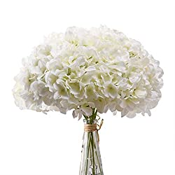 in budget affordable Aviviho White Hydrangea Silk Head with 10 white hydrangea flowers made of ivory …