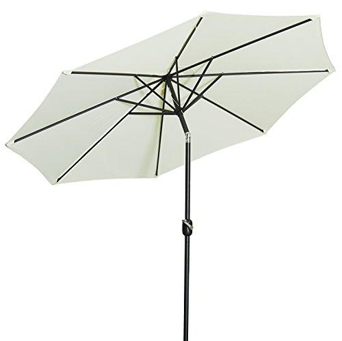 Gartenfreude Alu Sonnenschirm Marktschirm UV+50 270 cm, Creme