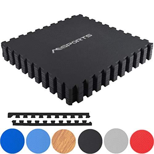 MSPORTS Bodenschutzmatten Set Premium - 8 Schutzmatten 3,175m² | Bodenschutz 60x60 cm Puzzlematten Gymnastikmatte (Schwarz)