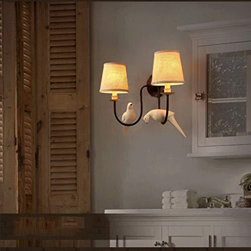 LIN HE SHOP Vintage doek wandlamp Retro Decoratie licht E14 base doek lampenkap met levendige vogels voor slaapkamer, keuken IJsland, café, wijnstuk, clubhuis, kledingwinkel