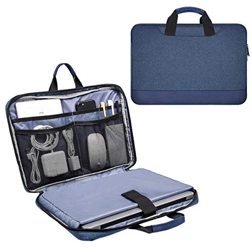 15.6 Inch Waterproof Laptop Sleeve Bag Men Women Briefcase with Accessories Organizer for Acer Aspire E15/Predator, Lenovo Yoga 720/730 15.6, HP Envy 15.6, MSI GS65 ASUS Dell Inspiron Case, Navy Blue