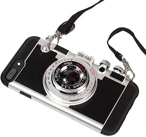 Custodia UCLL per iPhone 8 Plus, iPhone 7 Plus, custodia in stile vintage 3D, design con fotocamera in silicone per iPhone 5,5 e 7 Plus, con cordino lungo e pellicola protettiva per lo schermo (nero)