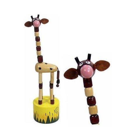 Ulysse Jouet Wakouwa en Bois Girafe Marionnette Animaux à Poussoir Enfant 3 Ans + - Marron