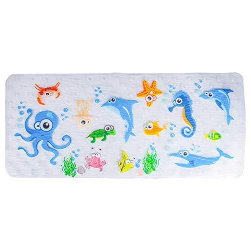 BEEHOMEE Bath Mats for Tub Kids - Large Cartoon Non-Slip Bathroom Bathtub Kid Mat for Baby Toddler Anti-Slip Shower Mats for Floor 35x15,Machine Washable XL Size Bathroom Mats (Blue-Octopus)