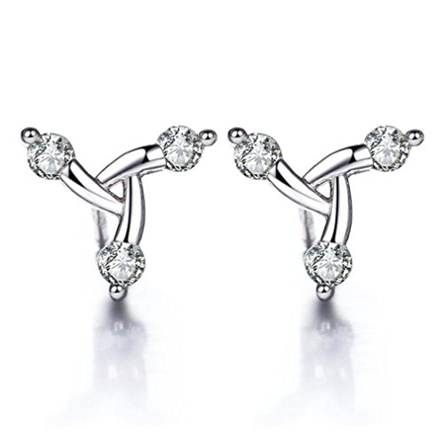Wiftly Women's Elegant Earrings, Sweet 925 Silver Stud Earrings, Love Flower Earrings, Fashion Jewellery Earrings, Petal Earrings, Zirconia, for Women and Girls, Allergy Free