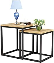 HTTXCJ Simple Coffee Table,Sofa Side Table,2 Piece Square Nesting Tables Metal Frame Accent Furniture for Living Room Balc...