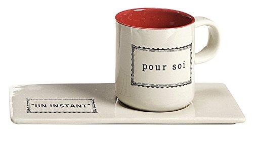 Comptoir de Famille 154530 Coffret 4 Paires Tasses Café, Grès, Blanc/Rouge, 5,5 cm