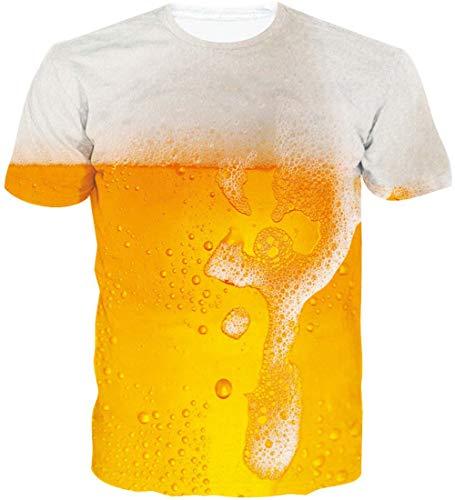 Loveternal Camiseta Hombre Beer 3D Digital Impreso Verano Ocasional Manga Corta Cerveza Tops XL