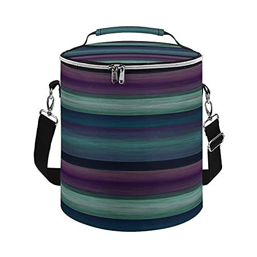 Bolsa de refrigeración, color morado, verde azulado, azul, verde, con patrón de rayas de acuarela, bolsa grande para actividades al aire libre, senderismo, camping, barco, playa, pesca