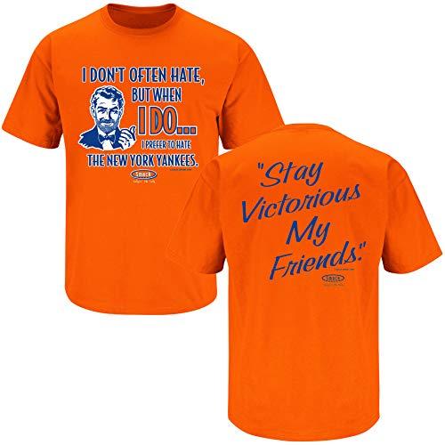 New York Baseball Fans. Stay Victorious (Anti-Yankees). Orange T-Shirt (Sm-5X) (Short Sleeve, Large)