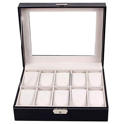 WYBFZTT-188 Caja de Reloj con 12 Ranuras para Mujeres, Hombres, Reloj de Cuero, Organizador con cajón de Cristal con Cierre, Bandeja de Joyas (marrón)