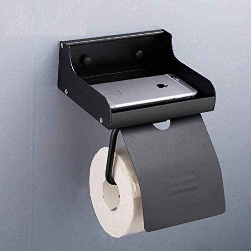 ZJN-JN Tissue Holder for Bathroom Newly Wall Mounted Space Aluminum Black Paper Towel Shelf Phone Waterproof and Proof Toilet Paper Holder