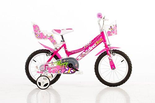 Velò Enfant Fille Dino Bikes Flappy 14 Pouces avec Stabilisateurs et Poupées Porte Rose