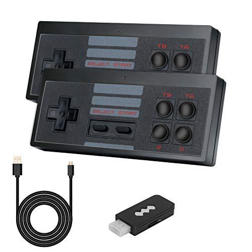 LINGSFIRE Mini consola de juegos retro con 2 controladores inalámbricos, salida de TV HDMI 4K Consola de juegos clásica de video incorporada 568 juegos para jugadores duales