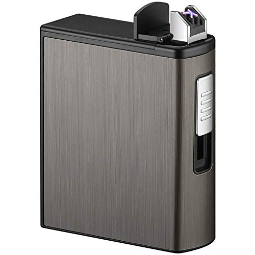 VIY Pitillera Metálica con Encendedor Eléctrico USB Recargable, Caja De Cigarrillo con...