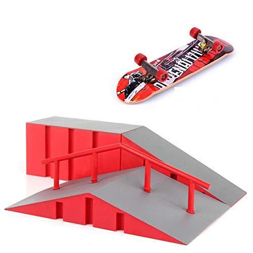 QUUY Skatepark Kit Unzerbrechliche Finger Skateboard Park Rampenteile Mit 2 Skateboard, Für Fingerboard Mini Finger Skateboard Griffbretter Ultimative Parks, 28x21x10cm